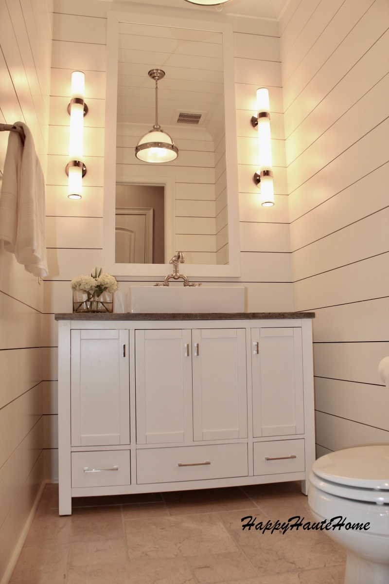 Powder Room Remodel Using Planked Boards Happy Haute Home